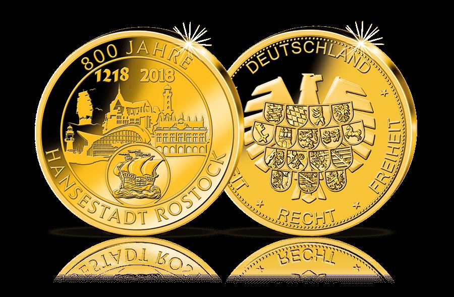 Gold Gedenkprägung 2018 800 Jahre Hansestadt Rostock Btn
