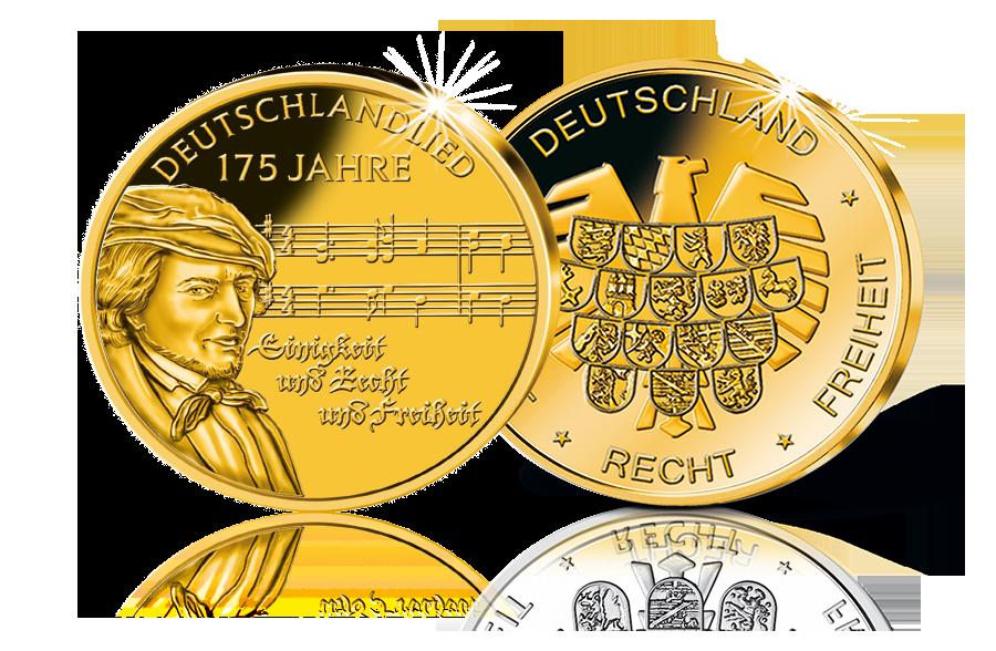 Gold Gedenkprägung 175 Jahre Deutschlandlied Btn Münzen Online