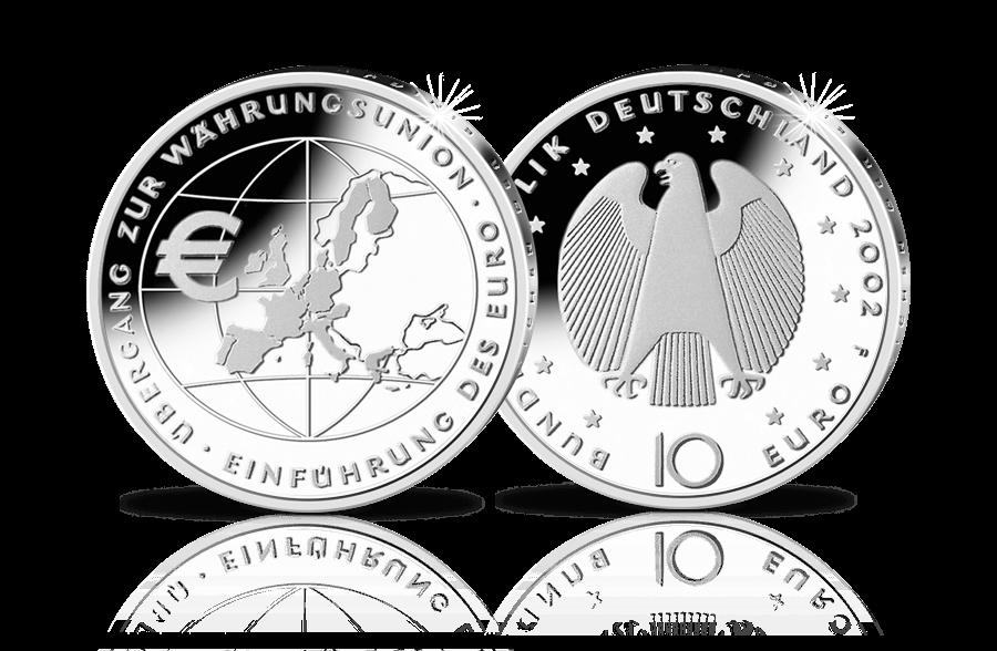 10 Euro Gedenkmünze übergang Zur Währungsunion Einführung Des