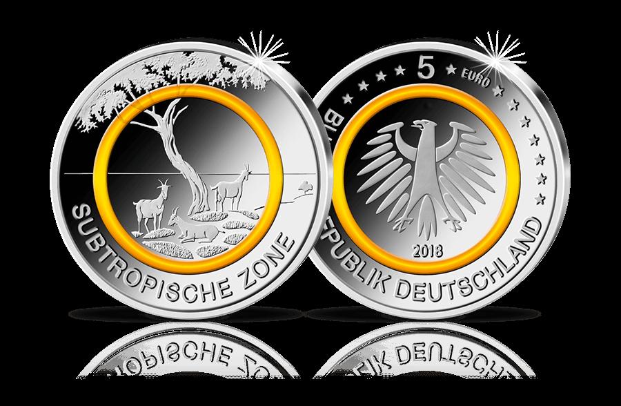 5 Euro Münze 2019 Gemäßigte Zone Mit Grünem Polymer Ring Btn