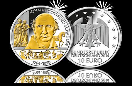 10 Euro Münze 2014 Johann Gottfried Schadow Edel Teilvergoldet 10
