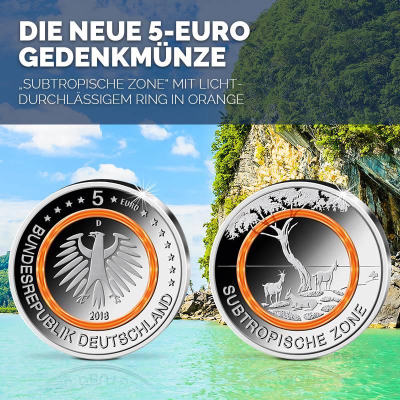 5 Euro Münze 2018 Subtropische Zone Btn Münzen Online Kaufen