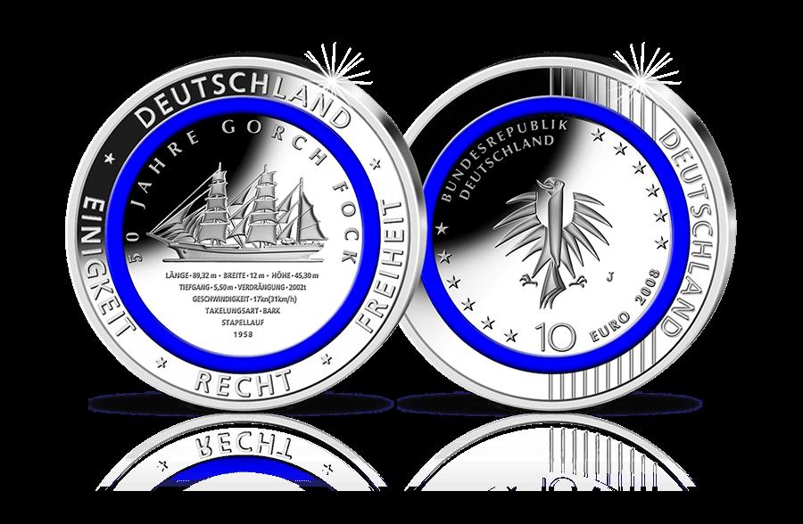 10 Euro Münze Mit Blauem Polymer Ring 50 Jahre Segelschulschiff