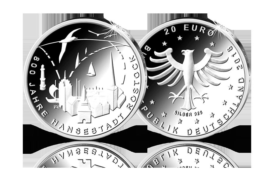20 Euro Gedenkmünze 800 Jahre Hansestadt Rostock 2018 Btn Münzen