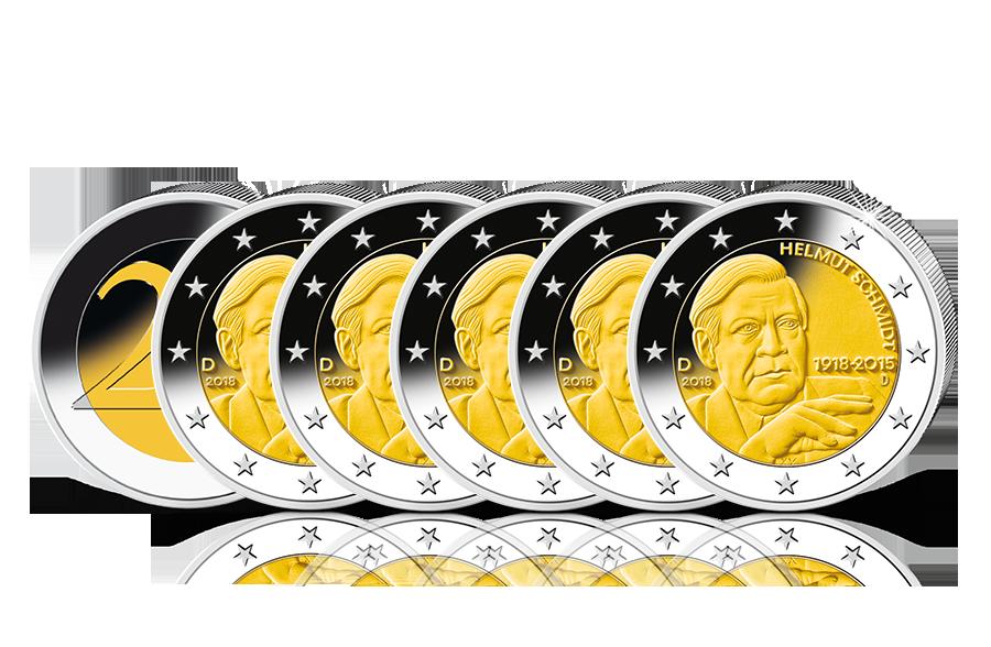 2 Euro Münze Komplettsatz Helmut Schmidt 2018 Btn Münzen Online