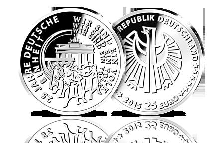Die Erste 25 Euro Silbermünze Deutschlands 25 Jahre Deutsche Einheit