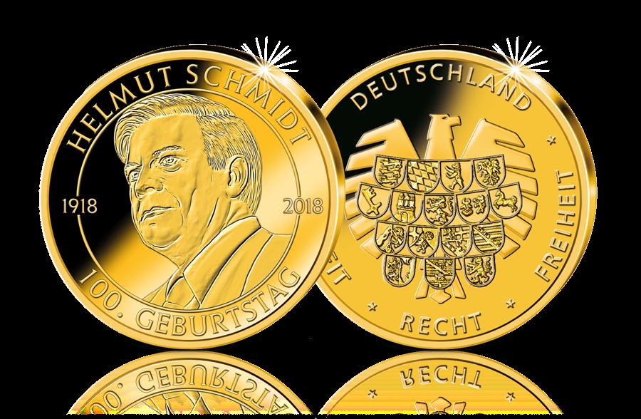 Gold Gedenkprägung 100 Geburtstag Helmut Schmidt 2018 Btn
