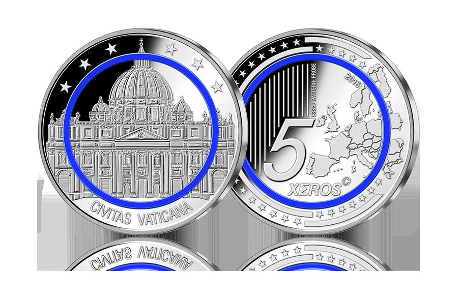 Probe Prägung Vatikan Petersdom Mit Blauem Ring 2016 Btn