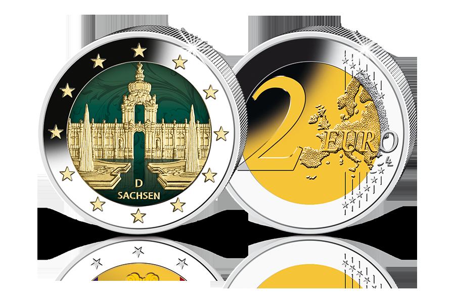 2 Euro Gedenkmünze Sachsen 2016 Mit Teilvergoldung Und Farbe Btn
